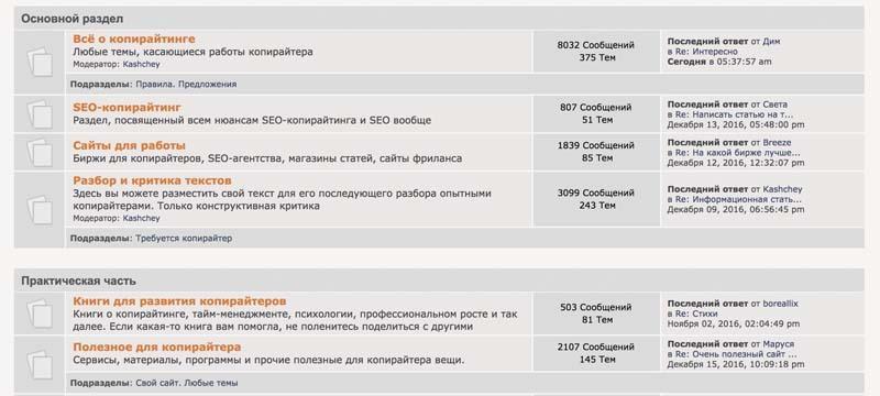 Живой форум копирайтеров